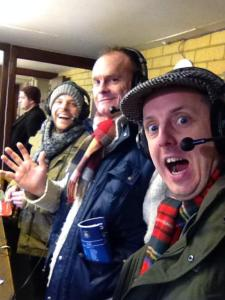 The BBC Three Counties commentary team for the game